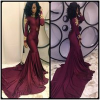 Reference Images black jersey skirt - African Sexy Burgundy Long Sleeve Mermaid Prom Dress Gold Lace Appliques Long Train Skirts Formal Evening Occasion Dresses