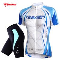 Wholesale Womens Suits Shorts - Tasdan Womens Cycling Jerseys Set Short Sleeve Bike Bicycle Jerseys Suit Custom Cycling Jerseys & (Bib) Short Sets