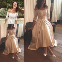 Wholesale belted shirt dresses - 2017 Vestios De Novia Off Shoulders Lace Bodice A-line Wedding Dresses Saudi Arabic Style Half Sleeves Bow Belt High Low Bridal Gowns