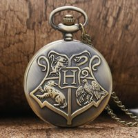 Wholesale Chain Watches For Men - Wholesale-Hot Sale Big Letter G Hogwarts School Motto Harry Potter Vine Retro Pocket Watch with Chain for Women Men Gifts Free Shipping