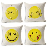 Wholesale Embroidered Home Textiles - Emoji Pillow Case Digital Printed Cushion Creative Expression Bolster Durable Flax Cover Home Textile Decor Many Style Select 5py R