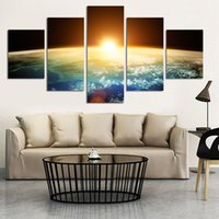 Wholesale Sunrise Wall Art Home Decor - Hot Sell Sunrise Modern Home Wall Decor Canvas Picture Art Hd Print Knife Painting Set Of World Art Canvas Unframed
