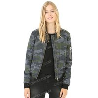 Wholesale Female Military Jackets - Women Jackets Slim Camouflage Basic Jackets & Coats Military Bomber Jacket Female Zipper Camo Army Outwear Ladies