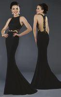 Wholesale Empire Waist Trumpet - 2016 Janique New Elegant Black Mermaid Evening Gowns Floor Length Prom Dresses Sheer Waist Lace Appliqued Illusion Sexy Back Chiffon Dresses