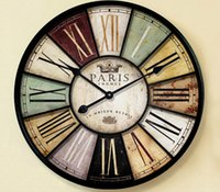 Wholesale Watch Old Wall - Home decor Large wall clock 60cm antique style mute iron crafts vintage old wall watch with roman number