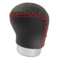 Wholesale Wholesale Shift Knobs - Black Leather Red Stitched Car Gear Shift Knob Shifter Lever Universal Fit for Manual Transmission Drive