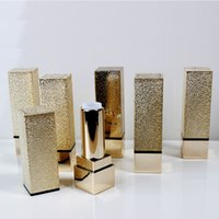 Wholesale High Quality Lip Gloss Tubes - Gold Luxury Empty High Quality Square Shape Plastic Lipstick Tube Lipstick Gloss Container DIY Lipstick Lip Balm Tube