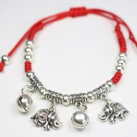 Wholesale Thread Anklets - Fashion String Rope Anklet Silver Color Thin Red Thread Elephant Bangles Bracelet Barefoot Sandal Beach Foot Jewelry