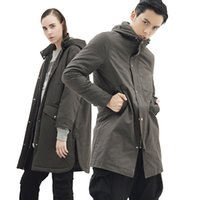 Wholesale Korean Style Mens Winter Coats - Fall-PUNKOOL Mens Winter Gray Korean Style Coat Jackets Thick Hooded Long Lovers Padded Warm Solid Outdoor Sportswears 279
