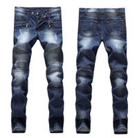 Wholesale Mens Slimmer - Men's Distressed Ripped Skinny Jeans Fashion Designer Mens Shorts Jeans Slim Motorcycle Moto Biker Causal Mens Denim Pants Hip Hop Men Jeans