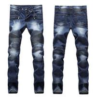erkek denim biker jeans toptan satış-Erkek Sıkıntılı Yırtık Sıska Kot Moda Tasarımcısı Erkek Kot Ince Motosiklet Moto Biker Nedensel Erkek Denim Pantolon Hip Hop Erkek Kot