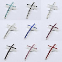Wholesale Mixed Sideways Cross Bracelets - Silver Plated 25x48mm Cross Curved Sideways Rhinestone Connectors Mix Colour Bracelet Connector Fit DIY Fashion Accessory