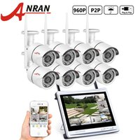 Wholesale hdd cameras - ANRAN P2P 8CH WIFI NVR 12 Inch LCD Monitor 36 IR Waterproof Surveillance Security 960P Wireless IP Camera System HDD Optional