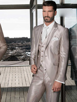Wholesale Cool Groom Vests - Cool High Quality Groom Tuxedos Groomsmen Side Vent Slim Fit Best Custom Made Man Suit Wedding Men's Suits Bridegroom (Jacket+Pants+Vest)