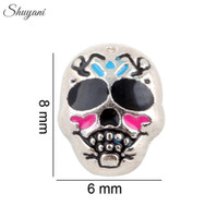 Wholesale Colorful Skull Bracelets - Colorful Skull Enamel Charms for DIY Bracelet Silver Plated Charm for Living Glass Memory Locket Necklaces