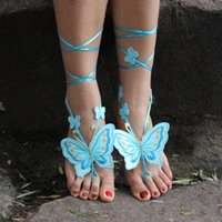 Wholesale Pool Bridesmaid - Jewelry Beach Pool Wear Butterfly Barefoot Sandals Stretch Anklet Chain With Toe Retaile Sandbeach Wedding Bridal Bridesmaid Foot Jewelry