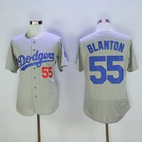 Wholesale Cheap Uniform Shirts For Men - Los Angeles Dodgers #55 Blanton Grey Jersey Cheap Baseball Jerseys Embroidered Baseball Uniforms Hot Sale Baseball Shirts for Men