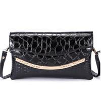 Wholesale Leopard Retail Bag - Fashion Crocodile Pattern Evening Bag Clutch For Women PU Clutches Purses Luxurious Evening Handbags leopard purse retail
