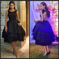 Wholesale Oscar Dress Knee Length - Celebrity Dresses 2016 Oscars Sheath Scoop Cap Sleeve Knee Length Beading Sequined Tulle Party Evening dress Prom Gowns