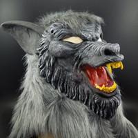 boca livre halloween máscara venda por atacado-Na venda máscara de Halloween Assustador Lobo Negro Amarelo Dentes Fero Boca Aberta Lobo Horror animal máscara frete grátis