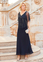 Wholesale Tea Length Dresses Stock - In Stock 2018 Mother Off Bride Dresses Chiffon Navy Blue V Neck Beading Crystal Cap Sleeves Tea Length Mother Of The Bride Dress