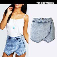 Wholesale Denim Skirts For Women - best selling new summer Cross layer Irregular leisure joker Washed high waisted shorts Back zipper culottes denim shorts skirt for women