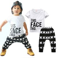 Wholesale Toddlers Boys Sports Clothes - Kid Clothing Sets Toddler Kids Baby boy Summer Outfits Sports Clothes Letter T-shirt Tops+Harem Pants 2pcs Set