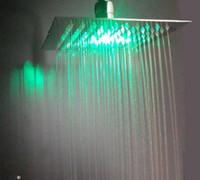 Wholesale lighted shower heads rain - ultra thin 200*200*2mm polished rgb led shower head lighted shower head led rain shower head 160313#
