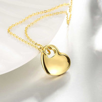 Wholesale Gold Filled Womens Necklace - Women Fashion Charm Jewelry Love Heart Gold Pendant Chain Necklace Gift Womens For Clothing Accessories Wholesale
