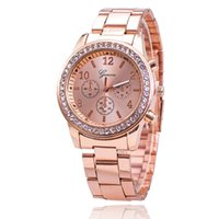 Wholesale Double Diamond Watches - Latest Geneva double row diamond imitation ceramic alloy watch Geneva big brand printing female watch foreign trade