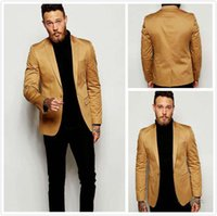 Wholesale Mens Yellow Slim Fit Blazers - 2016 Gold Blazer Slim Fit Tuxedo Suits For Groom Groomsmen Peaked Lapel Wedding Suits Custom Made Prom Mens Suits with Black Pants