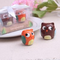 Wholesale Ceramic Owls Wholesale - wedding favors gifts brown and orange Owl Always Love You Ceramic Salt and Pepper Shaker wen4446