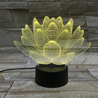Wholesale Lotus Nightlight - Colorful 3D Touch Lamp LED lotus lamp colorful lights Nightlight Stereo Vision 3D illusion Christmas gift Helloween gift
