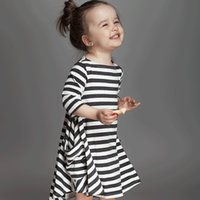 Wholesale Baby Pocket - INS dresses for baby girl 2017 Spring Fall black white striped loose dress toddler dress ig pockets long sleeve 100%cotton 1T 2T 3T 4T 5T