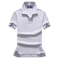 цвета оптовых-Бесплатная доставка 2018 лето высокое качество мужская рубашка поло мужские короткие рукава досуг мода поло мужская сплошной цвет рубашки поло размер S-XXL