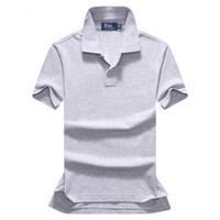 chemises de champagne hommes achat en gros de-Livraison gratuite 2018 été haute qualité Polo Shirt hommes manches courtes loisirs mode Polo hommes couleur unie Polo shirt taille S-XXL