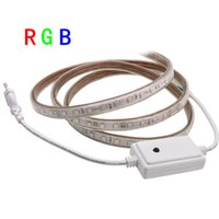 Wholesale Led Flat Rope Lighting - 220V 240V RGB led strip SMD 5050 LED Tape rope ribbon lights 60LEDs m 10mm PCB Width 5M 10M + RGB controller kit