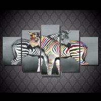 frete grátis venda por atacado-5 Pçs / set holanda zebra cor Pintura Cópia Da Lona decoração da sala de impressão imagem do cartaz da lona Frete grátis / NY-5919