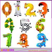 foil mylar cartoon balões venda por atacado-16 Polegada Dos Desenhos Animados Animal Balão Digital Números Balão Mylar Folha de alumínio Balões Fontes do Partido de Aniversário Decoração Do Partido
