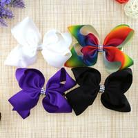Wholesale Orange Hair Pins - New Bow Beaded Girls Barrette Fashion JOJO style Bowknot Children Hair Pin Cute Rainbow Bows Kids Hair Accessories C2476