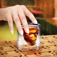 Wholesale Crystal Decanters - Doomed Crystal Skull Head Vodka Shot Glass Cup Beer Wine Whisky Drinking Cup Ware for Home Bar Party