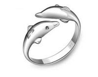 Wholesale Little Girl Silver Rings - High Quality Lady Chaveiro Dolphin Cute Key Chain Metal Cute Little Dolphin Ring Chain Set the Girl Friend