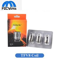 Wholesale E Cig Coil Tank - Authentic SMOK TFV8 Coil Head V8 Q4 X4 T6 T8 T10 Replacement Coils for TFV8 Cloud Beast Vape Tank E Cig