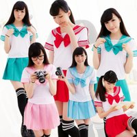 Wholesale School Uniform Costumes Cosplay - Wholesale-Japanese School Uniform - 2016 New Sexy Sailor Costumes 6 COLORS Anime Girls Dress Suits Women Cosplay Costume