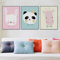 Wholesale Kids Animal Canvas Art - Modern Kawaii Animals Lion Canvas A4 Poster Print Cartoon Nursery Wall Art Picture Kids Baby Room Decor Canvas Painting No Frame