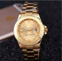 Wholesale Clocks Black - Hot luxury fashion brand automatic date mens wristwatch women stainless steel strap belt movement men's dress quartz clock men watch