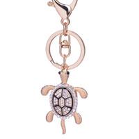 Wholesale Tortoise Charm Gold - 10pcs Unique Rhinestone tortoise keychain Exquisite gold-plated bag Keyring Charm keyfobs creative Jewelry gift wholesale
