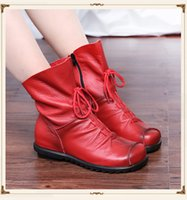Wholesale Champagne Shoes Flower - 2016 Vintage Style Genuine Leather Women Boots Flat Booties Soft Cowhide Women's Shoes Front Zip Ankle Boots zapatos mujer 16102301