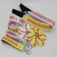 Wholesale Wholesale Keychain Bows - 25pcs baseball softball headband+25pcsbaseball softball hair bow+25pcs baseball softball keychain+25pcs baseball softball bracelet