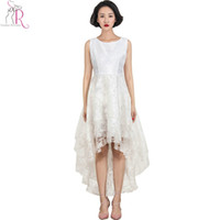 Wholesale Novelty White Chiffon Dress - White Lace Floral Layered Sleeveless Round Neck Dress High Low Hem 2016 Women Spring Summer Novelty Designer Women ELegant Wear